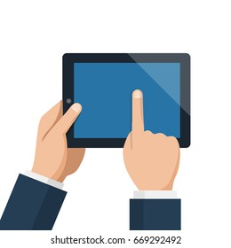Businessman hold tablet and pointing empty blue screen. Flat design style vector illustration for web banner, web site, infographics