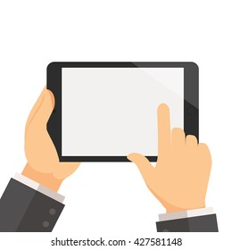 Businessman hold tablet and pointing on the screen concept vector illustration