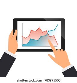 Businessman hold the tablet and pointing on the screen with line graph vector illustration