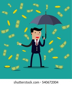 Businessman hold umbrella and standing under money rain. vector illustration in flat style