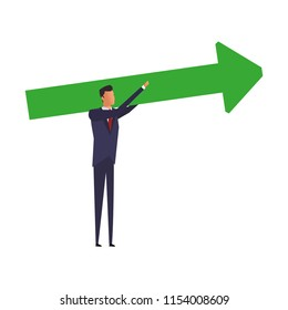 Businessman holding arrow up