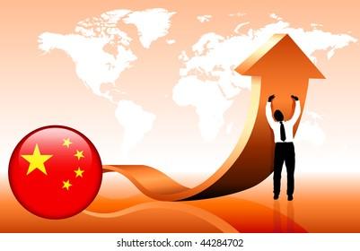 Businessman holding arrow with China Internet Button Original Vector Illustration