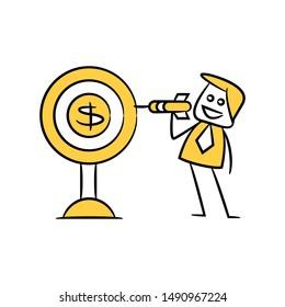 businessman holding arrow and money dart, yellow stick figure