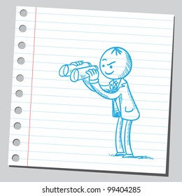 Businessman holding binoculars