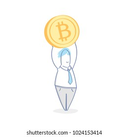 Businessman holding a Bitcoin. Profit, Income, Cryptocurrency, Financial management, Investment, Earnings, Bonus, Salary, Business Success. Flat outline modern design, vector business illustration