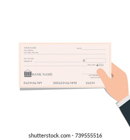 Businessman holding blank bank checks or che-que book on colored, vector illustration.