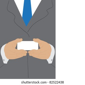 Businessman holding blank business card with both hands