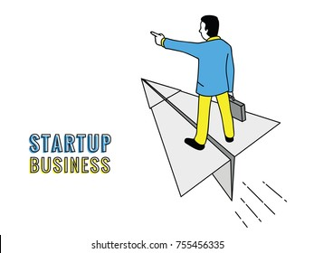 Businessman holding briefcase, flying on paper airplane with hand pointing in future. Business startup concept. Outline, linear, thin line art, hand drawn sketch.