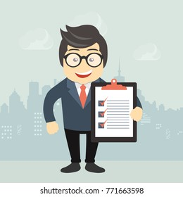 Businessman holding business contract or agreement document. Flat vector illustration