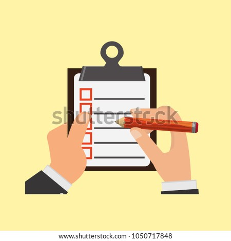Businessman Holding Clipboard Checklist Checklist Complete Stock