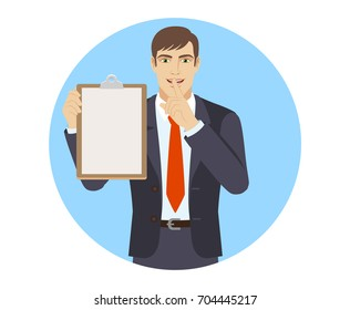 Businessman holding the clipboard and making hush sign. Portrait of businessman character in a flat style. Vector illustration.