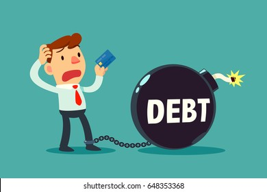 businessman holding credit card chained to debt time bomb. Credit card and debt concept.