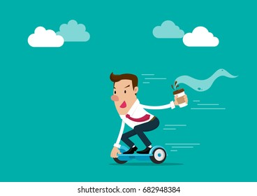 Businessman holding a cup of coffee going to work by hoverboard. Isolated vector illustration.