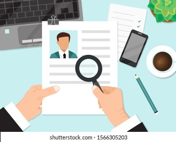 Businessman holding cv resume and magnifier vector illustration. Job recruiter reading resume of person with magnifying glass.
