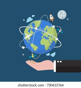 Businessman holding earth globe on space background. Flat style vector illustration