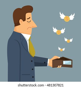 Businessman holding an empty wallet moths flying, vector illustration cartoon