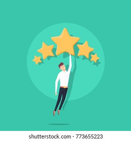 Businessman holding five gold stars for rating, quality and business concept. Vector, illustration, flat style. Client's Review, Customer Feedback or Satisfaction Level concept for Website