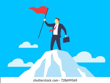 Businessman holding a flag on mountain peak, Business concept of victory and success, Flat design vector illustration