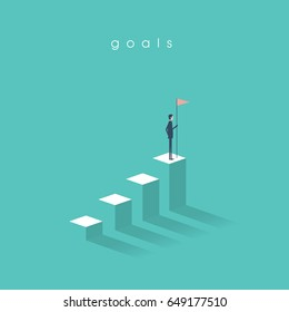 Businessman holding a flag on top of the column graph. Business concept of goals, success, achievement and challenge. Eps10 vector illustration.