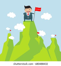 Businessman holding flag on top of mountain. Success concept