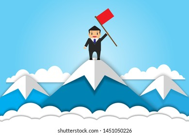 businessman holding a flag stand on top of mountain concept business financial success and growth professional .flat design vector illustration