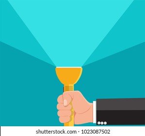 Businessman holding flashlight.Vector illustration.