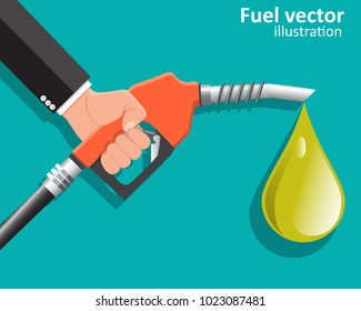 Businessman holding a fuel nozzle.Fuel pump in hand man. Petrol station. Vector illustration.
