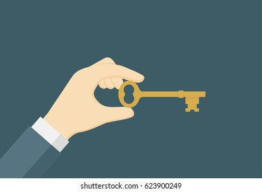Businessman Holding Golden Key