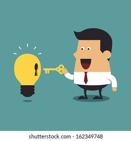 Businessman holding a golden key with light bulb Idea, Business idea