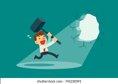 Businessman holding a hammer breaking through the wall. Business concept.