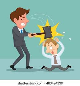 Businessman holding hammer try to hurt another businessman, vector illustration cartoon
