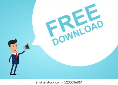Businessman Holding In Hand Megaphone With Speech Bubble FREE DOWNLOAD . Announcement. Vector illustration