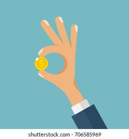 Businessman holding in his hand gold coin. Business success, profit, finance, making money concept. Man shows gesture okay with dollar. Flat style design cartoon vector illustration on blue background
