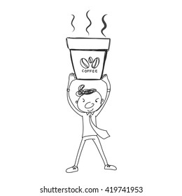 businessman holding hot cup of coffee with powerful hand drawn vector