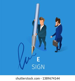 Businessman Holding Huge Quill Pen in Hands Putting E-Sign on Blue Background. Business Man Writing Electronic Signature on Document or Contract 3D Isometric Cartoon Vector Illustration, Square Banner