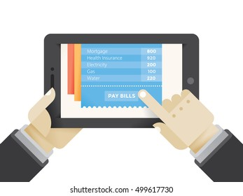 Businessman holding internet tablet computer and pay bills online. Mobile tax payments concept.