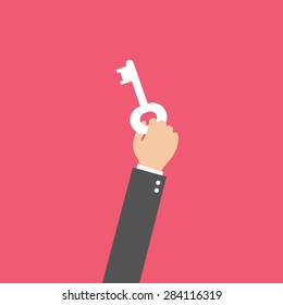 businessman holding key, vector