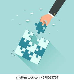 Businessman holding last piece of puzzle. Business success concept. Vector illustration.