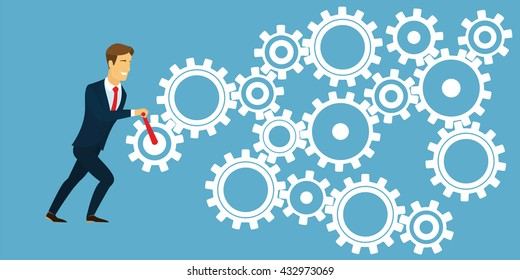 Businessman holding the lever and rotates the gear system. Business concept management mechanism in order to achieve success and profit. System of a variety of gear in white on blue background. Vector