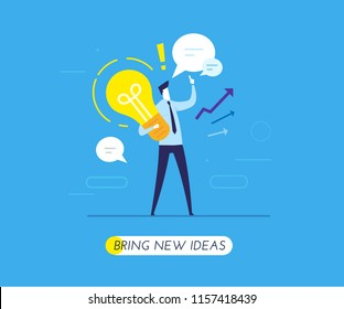 businessman holding a light bulb offers new ideas. Vector illustration Eps10 file. Success, growth rates