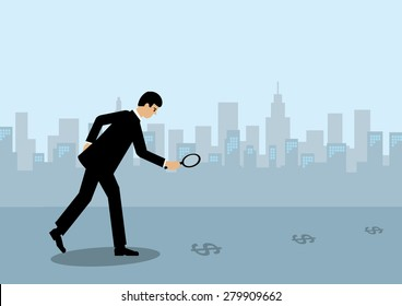 A businessman holding a maginfying glass and following a trail of Dollar symbols to the city.