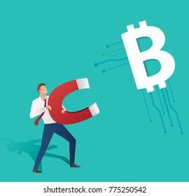 businessman holding magnet attract bitcoin icon, business concept vector illustration