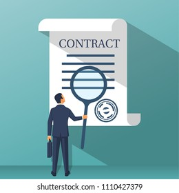 Businessman holding magnifying glass, studying terms of agreement. Signing business document. Inspection legal paper. Successful deal. Vector illustration flat design. Isolated on background.