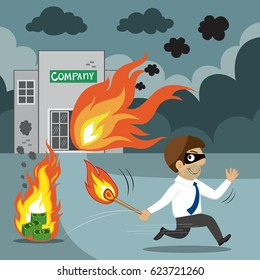 Businessman holding a match with fire arson any other business, business bully concept