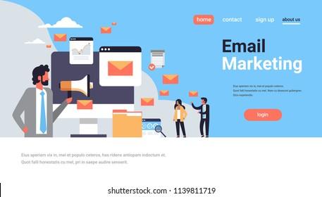 businessman holding megaphone email marketing concept online communication messenger application envelope icon horizontal flat copy space vector illustration