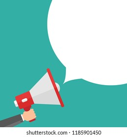 Businessman holding megaphone in hand. Advertising template with picture of sound speaker. Megaphone and loudspeaker promotion or communication. Vector illustration