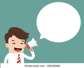 Businessman holding megaphone with speech bubble for text. Business concept cartoon illustration.