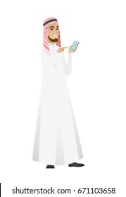 Businessman holding mobile phone and pointing at it. Full length of businessman with mobile phone. Businessman using mobile phone. Vector flat design illustration isolated on white background