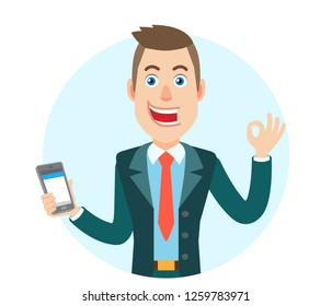 Businessman holding mobile phone and showing a okay hand sign. Portrait of Cartoon Businessman Character. Vector illustration in a flat style.