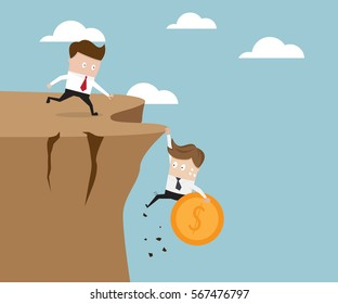 businessman holding money coin hanging on cliff vector illustration